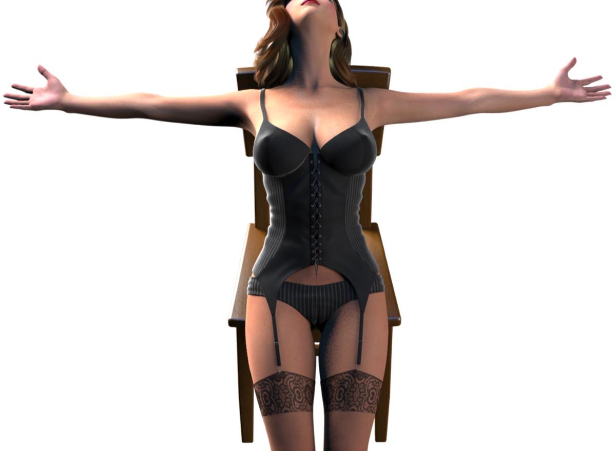 セクシーランジェリーを着用した女性